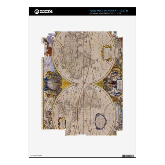 Antique World Map 2 Decal For iPad 3