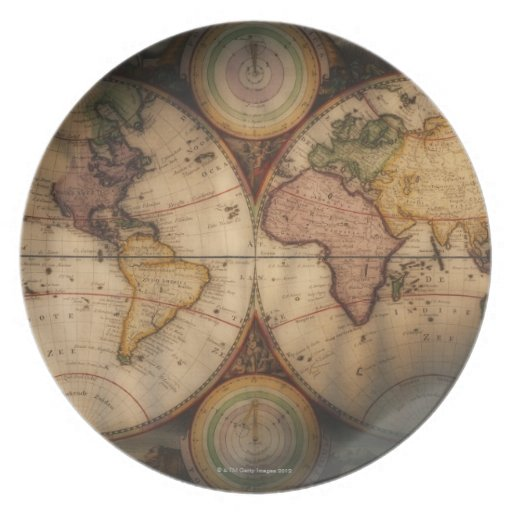 Antique world map 2 plate