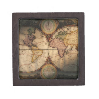 Antique world map 2 premium jewelry box