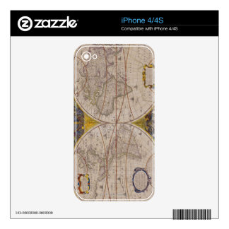 Antique World Map 2 Decals For The iPhone 4
