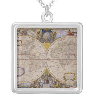 Antique World Map 2 Square Pendant Necklace