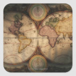 Antique world map 2 square sticker