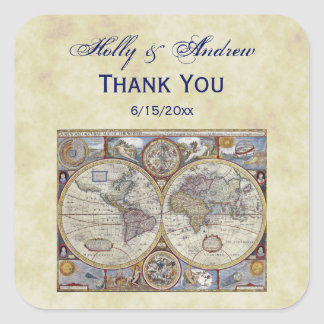 Antique World Map #3, Distressed BG #3 Square Sticker