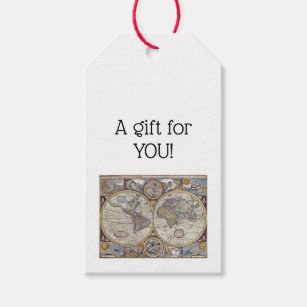 Antique world map gift tags zazzle antique world map 3 gift tags gumiabroncs Gallery