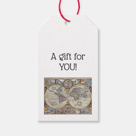Antique world map 3 gift tags zazzle antique world map 3 gift tags gumiabroncs