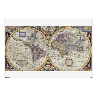 Antique World Map #3 Wall Decal