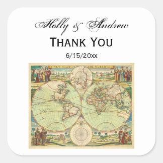 Antique World Map #4 Square Sticker