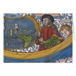 Antique World Map; Amerigo Vespucci Card
