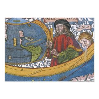 Antique World Map; Amerigo Vespucci Custom Invitation