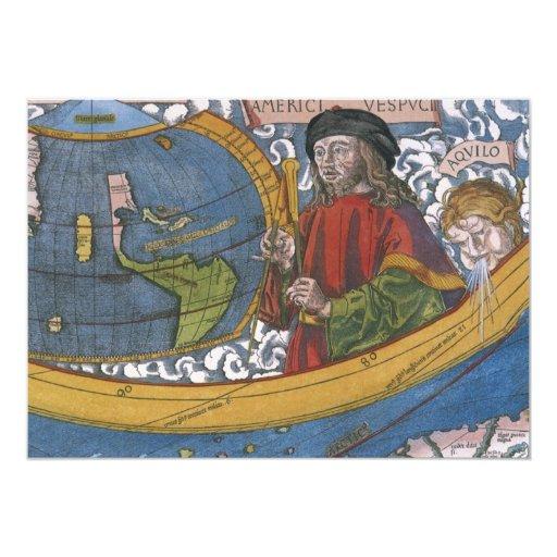 Antique World Map; Amerigo Vespucci 5x7 Paper Invitation Card