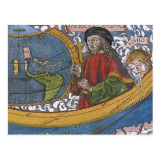 Antique World Map; Amerigo Vespucci Post Card