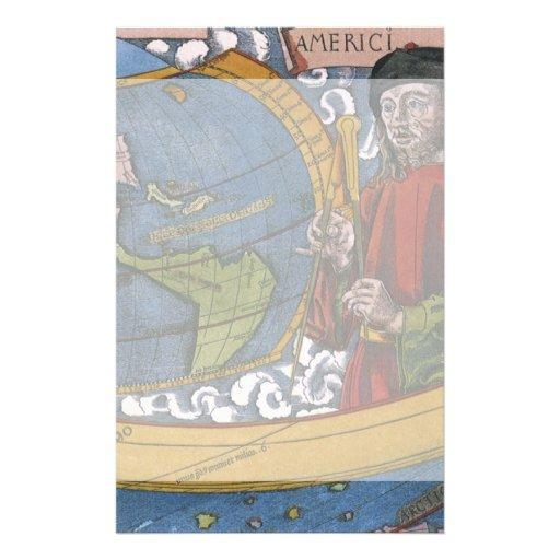 Antique World Map; Amerigo Vespucci Customized Stationery