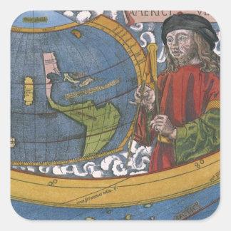 Antique World Map; Amerigo Vespucci Square Stickers