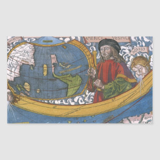 Antique World Map; Amerigo Vespucci Rectangular Stickers