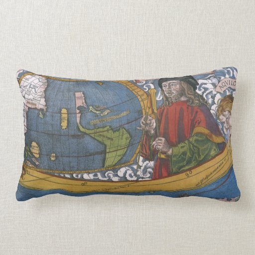 Antique World Map; Amerigo Vespucci Throw Pillows