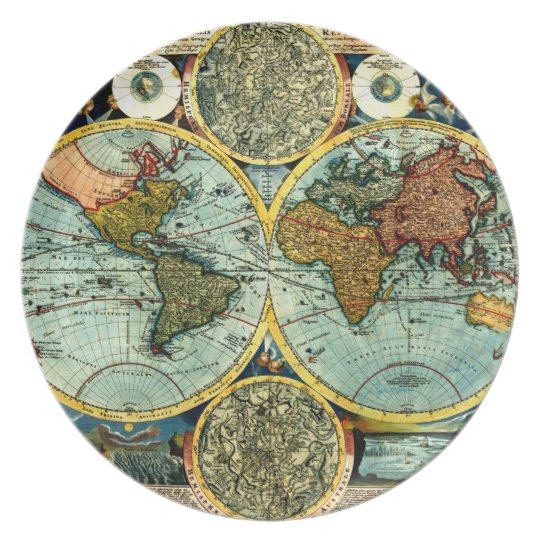 Antique World Map Art Vintage Style Decorator Dinner Plate - World decorator map