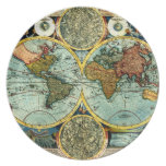 Antique World Map Art Vintage Style Decorator Party Plate
