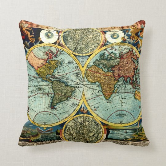 Antique World Map Art Vintage Style Decorator Throw Pillow