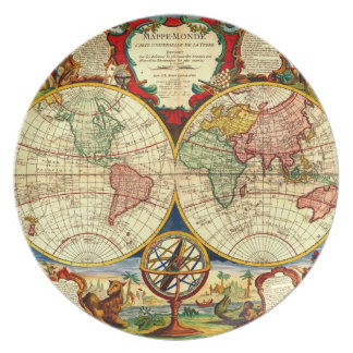 Antique World Map Art Vintage Style Wall Decor Plate