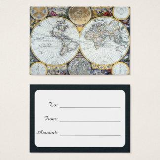 Antique World Map, Atlas Maritimus by John Seller Business Card