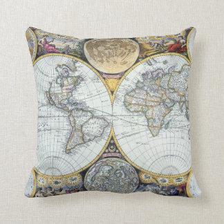 Antique World Map, Atlas Maritimus by John Seller Throw Pillow