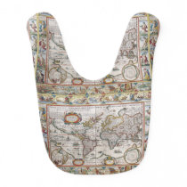 Antique World Map baby bib