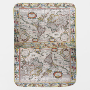 World map throw fleece custom blankets zazzle antique world map baby blanket gumiabroncs Images