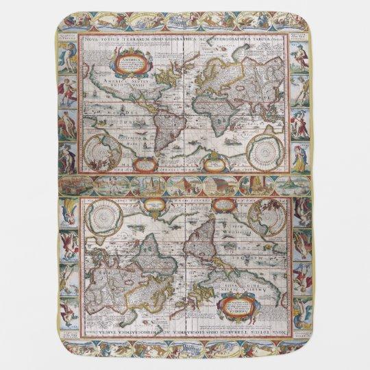 Antique world map baby blanket zazzle antique world map baby blanket gumiabroncs Choice Image