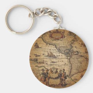 Antique World Map Basic Round Button Keychain