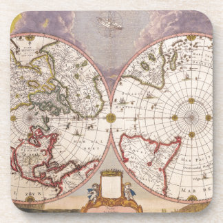 Antique World Map Beverage Coaster