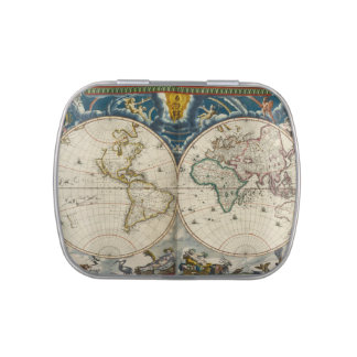 Antique World Map - Blaeu, Joan 1664 Jelly Belly Candy Tins