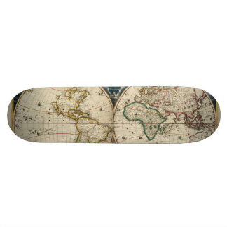 Antique World Map - Blaeu, Joan 1664 Skateboard Deck