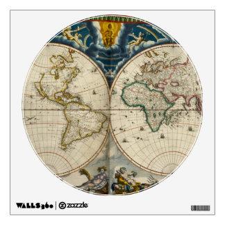 Antique World Map - Blaeu, Joan 1664 Wall Sticker