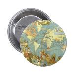 Antique World Map, British Empire, 1886 Button
