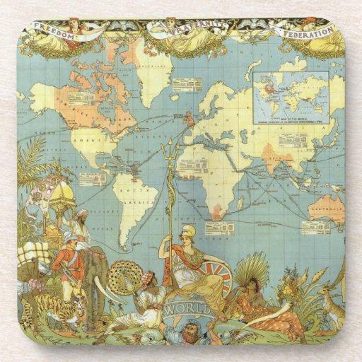 Antique World Map, British Empire, 1886 Drink Coaster