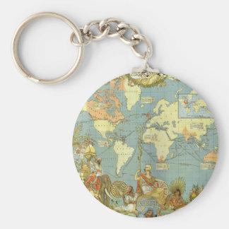 Antique World Map, British Empire, 1886 Key Chain