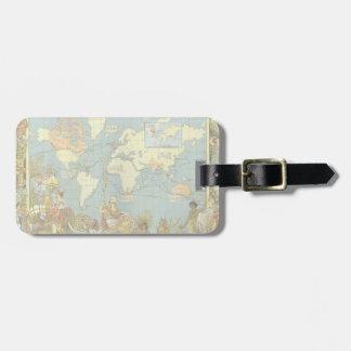 Antique World Map, British Empire, 1886 Luggage Tag