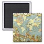 Antique World Map, British Empire, 1886 Fridge Magnet