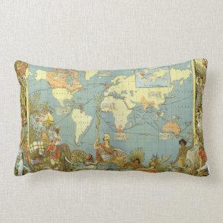 Antique World Map, British Empire, 1886 Pillows