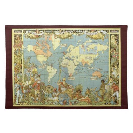 Antique World Map, British Empire, 1886 Placemats