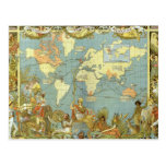Antique World Map, British Empire, 1886 Postcard