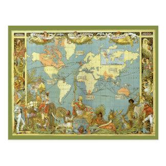 Antique World Map, British Empire, 1886 Post Card