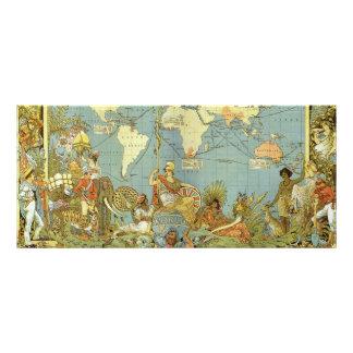 Antique World Map, British Empire, 1886 Full Color Rack Card