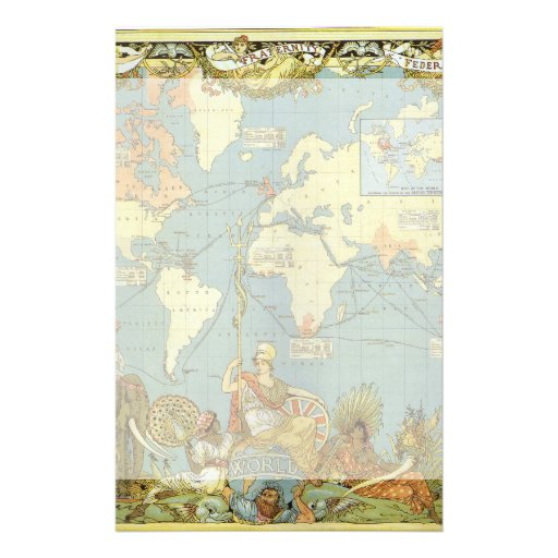 Antique World Map, British Empire, 1886 Personalized Stationery
