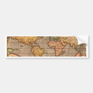 Antique World Map Bumper Sticker