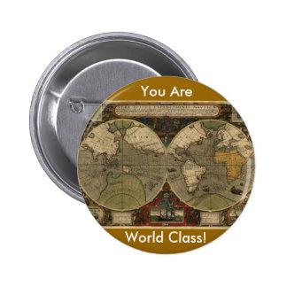 Antique World Map Button