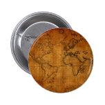 Antique World Map Buttons