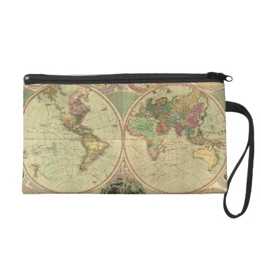 Antique World Map by Carington Bowles, circa 1780 Wristlet Clutch