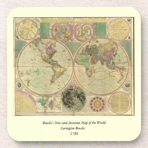 Antique World Map by Carington Bowles, circa 1780 Beverage Coaster