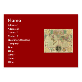 Antique World Map by Carington Bowles, circa 1780 Large Business Cards (Pack Of 100)